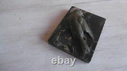 Bronze Paper Press E Marble Sign A. Fox Bird Sculpture