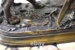 Bronze Pheasant Dog Signed Dubucand Marble Animal Hunting XIX 19th