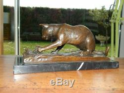 Bronze Sculpture Chat On Base Marble Signed Milo