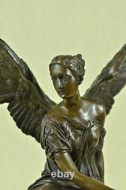 Bronze Sculpture Figure Statue Sign Houdon Beautiful Angel Marble Base Balance