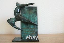 Bronze Sculpture Memorial To Black Patina Green Mottled Effect