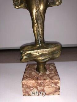 Bronze Sculpture Signed Erotic Curiosa Ancient Vintage Statue Marble