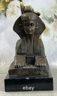 Bronze Sign Sculpture Sphinx Chair Nymph Mythology Statue On Marble Base