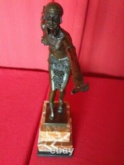 Bronze Signed Chiparus Phoenician Dancer Socle Marble Art Deco