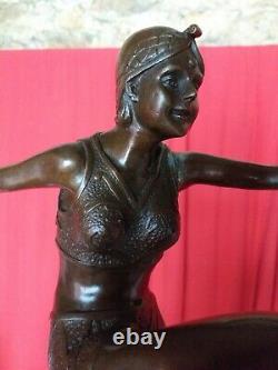 Bronze Signed Dancer Art Deco Marble Base