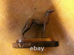 Bronze Statue Greyhound Dog Signee Barye Marble Base 2,650kg
