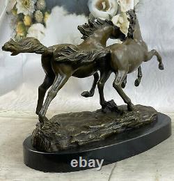 Bronze Wild Horse Marble Base Signed Statue Sculpture Figure Fonte