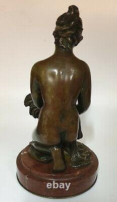 Bronze Woman With Rooster Signed Moret Xixeme On A Red Marble Base Turquin
