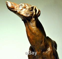 Bronzefigur- Greyhounds Signed On Base In Marble Made Handarbeit