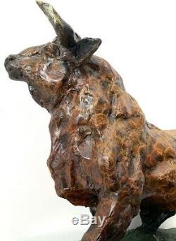 Bronzefigur-grosser Taurus Bronze Signed On Plate Marble Jazzy Patina