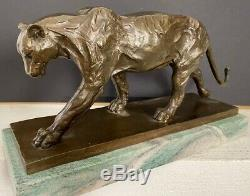 Bronzefigur-panther Bronze On Marble Plate Signed Bugatti As Nachguss