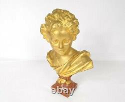 Bust Cupid Bronze Gilded Marble Base Signed Agathon Leonard 19th Century
