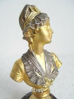 Bust In Gold Bronze And Silver On Marble By A. Caron. Art Nouveau, Late 19th Century