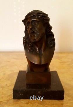 Bust Of Christ In Bronze Signed Pollet On Marble Base Height 16 CM