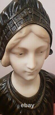Bust Statue Woman In Bronze And White Marble Of Carrare