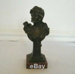 Bust Woman Profile Bronze On Marble Titled Sappho, Signed Jarois 1900