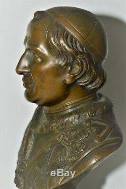 Buste Bronze Nineteenth Signed Bulio Pope IX Base Black Marble Collection Religion