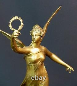 C 1910 Beautiful Gilded Bronze Sculpture P. Ducuing The Renowned 42c3.3kg Barbedienne