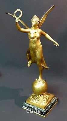 C 1910 Fine Gilt Bronze Sculpture P. Ducuing Fame 42c3.3kg Barbedienne