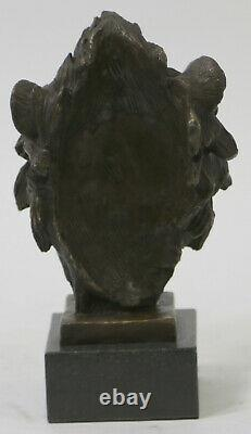 Cast Signed Bronze Royal Lion Statue Sculpture Bust Marble Base Figure Art