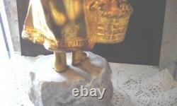 Chryselephantine A. Gory Art Deco Young Girl With Golden Bronze Baskets - Marble
