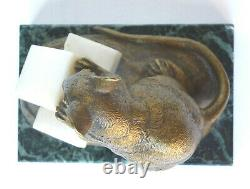 Clovis Edmond Masson Mouse With Bronze Sugars And Marble 19th Animal Sculptor