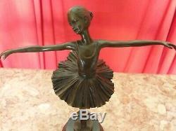 Dancer Bronze Pedestal Marble Signed Milo