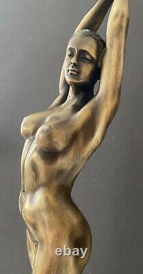 Elegant Erotic Bronze Sculpture Nu Signed Raymondo On Marble Base