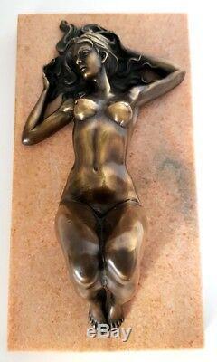 Erotic Nude Bronze Laying On Marble Base, Signature Raymondo