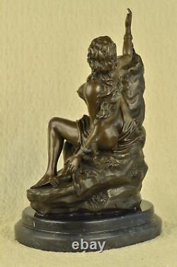 Erotic Sensual Nu Female Bust Woman Signed Bronze Marble Sculpture Art