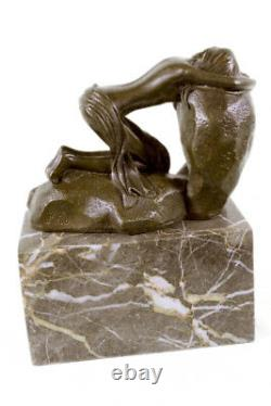 Erotic Sensual Nu Female Woman Signed Bronze Marble Statue Sculpture Sexy D