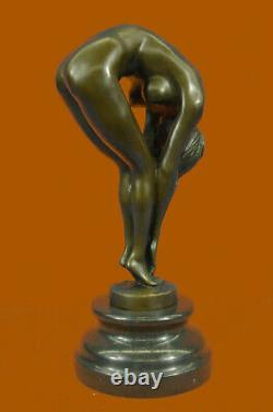 Erotic Sensual Nude Female Signed Bronze Marble Sculpture Sexy Sale
