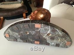 Female Bust Sculpture Bronze Art Deco Marble Pedestal Signed