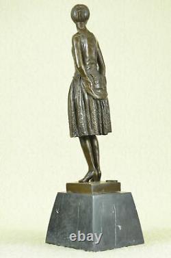 Figure 7.3kg Signed Original Mom Housewife Marble Décor Bronze Sculpture Art