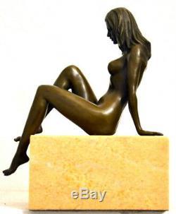 Figure -handgefertigter Bronze Bronze Nude Signed Raymondo On Marble Base