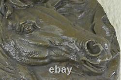 Figurine Statue Bronze Sculpture Signed Unique Horse Head Bust Marble Balance