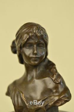 Flesh Erotic Sensual Female Female Bust Signed Bronze Marble Sculpture Art