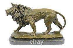 Fonte Sculpture Signed Bronze Royal Lion Statue Bust Marble Base Decor
