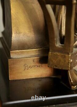 Former Bronze Pendule Signed Bouret Allegory Agriculture Napoleon Kaminuhr