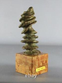 Fusion Modernist Sculpture Bronze Signed On Base Marble XX Second