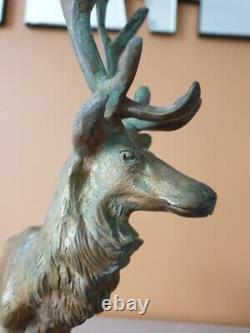 Georges Gardet Sculpture In Patinated Bronze Cerf Signed Marble Base Proof