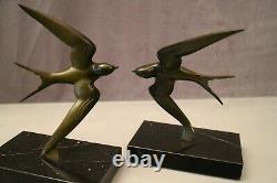 Georges Garreau's Pair Of Bronze Swallow Bookends On Marble