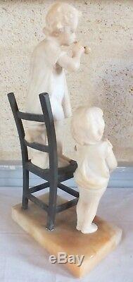 Girls Bubbles Marble Sculpture Bronze 1900s Signed Gambogi