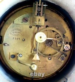 Grand 19c French Bronze Marble Clock Tiffany & Co Signed Porteur Belleuse