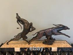 Grand Art Deco Statue Jacques Limousin Antelopes Leak Sign