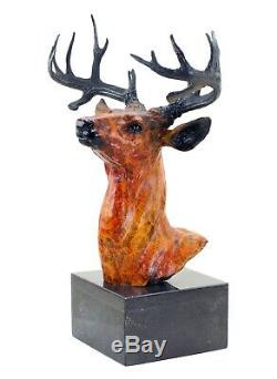 Grand Cerf Bust Bronze Figure On Marble Signed Happiness