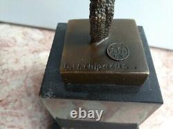 Great Bronze Dancer Signed Chiparus Marble Pedestal