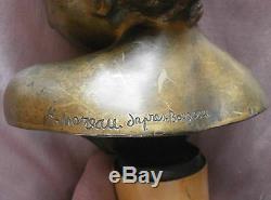 H Moreau According Bourguereau Gilt Bronze On Marble Column Child Apollo Bust