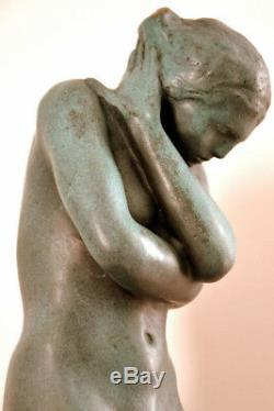 Hand Made Bronze Sculpture Nude Eva Signed A. Rodin On Marble Plate