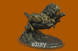 Hand-made Large Signed Mignez Lion At The Bronze Marble Figurine